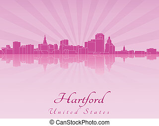 Hartford skyline in purple radiant orchid in editable vector...