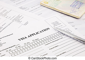 visa application form and passport, apply and permission for...