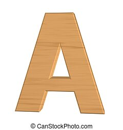 Letter A from new wood isolated on white background