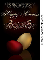 Easter background with two eggs, vector illustration