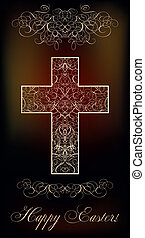 Happy Easter background with cross,