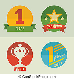 First place icon set flat design