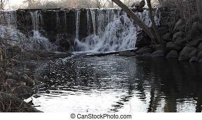 Water Cascade wide angle shot - Water Cascade on a Wehr Pond...
