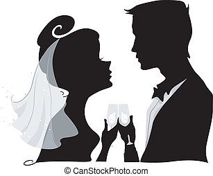 Wedding Toast Silhouette - Illustration Featuring the...