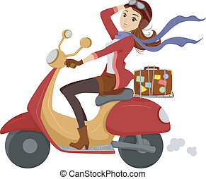 Scooter Girl - Illustration of a Girl Happily Driving a...