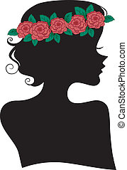 Rose Headband Girl Silhouette - Illustration Featuring the...
