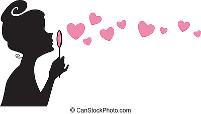 Girl Blowing Bubbles Silhouette - Illustration Featuring the...