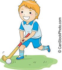 Field Hockey - Illustration of a Little Boy Happily Playing...