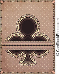 Vintage clubs poker card, vector illustration