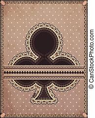 Vintage clubs poker card, vector illustration