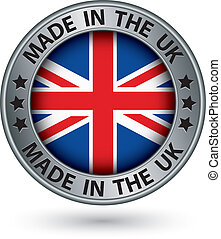 Made in the UK silver label with flag, vector illustration