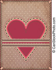 Vintage hearts poker card, vector illustration