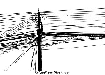 Chaotic mess of a wires on a pillar on white background