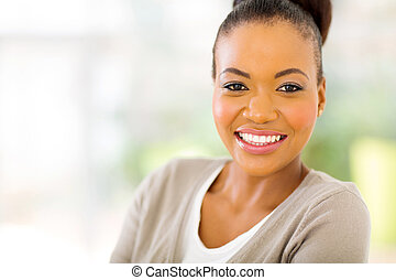 young african american woman close up - close up portrait of...