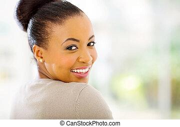 african american woman looking back