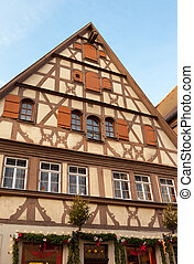 Traditional Half Timbered House in Rothenburg ob der Tauber...