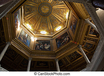ROME, ITALY - APRIL, 19: Painted dome with biblical story in...