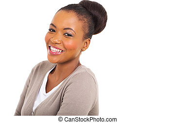 afro american woman - attractive afro american woman looking...