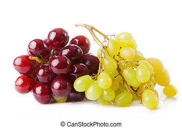 red and green grapes isolated on white