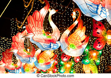 Colorful Swan lanterns on Chinese New Years