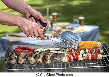 Lunch outdoors - A delicious lunch outdoors with grilled...
