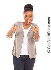 african business woman pointing at the camera - happy...