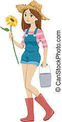 Farm Girl - Illustration of a Girl in Shortalls and a Straw...