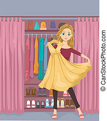 Girl Closet - Illustration of a Girl Standing in Front of a...