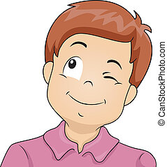 Boy Wink - Illustration of a Little Boy Winking