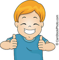Two Thumbs Up - Illustration of a Little Boy Giving Two...