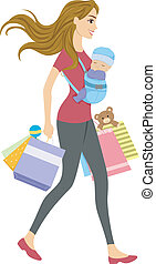 Shopping Baby - Illustration of a Woman with a Baby Carrier...