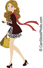 Fashionable Female Student - Illustration of a Female...