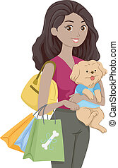 Pet Supplies Shopping - Illustration of a Woman Carrying a...
