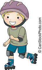 Rollerblade Boy - Illustration of a Little Boy Wearing...