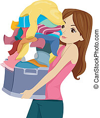 Laundry Girl - Illustration of a Girl Carrying a Huge Pile...