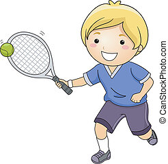 Tennis Boy - Illustration of a Little Boy Hitting a Tennis...