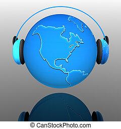 tierra, globo, auriculares, Música