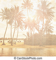 Vintage wallpaper - Grunge style photo of beautiful tropical...
