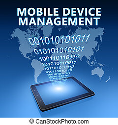 Mobile Device Management illustration with tablet computer...