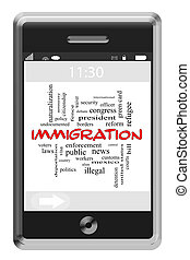 Immigration Word Cloud Concept on a Touchscreen Phone with...