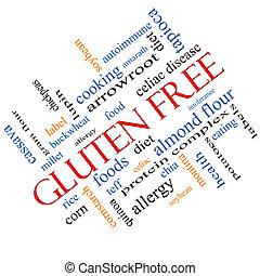 Gluten, livre, palavra, nuvem, conceito, angled
