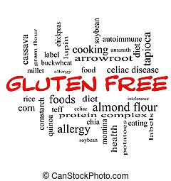 Gluten Free Word Cloud Concept in red caps with great terms...