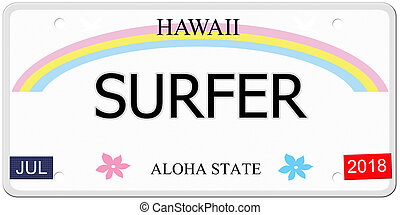 Surfer Hawaii License Plate