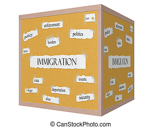 Immigration 3D Corkboard Word Concept with great terms such...