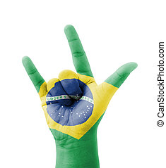 Hand making I love you sign, Brazil flag painted, multi...