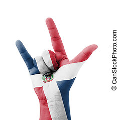 Hand making I love you sign, Dominican Republic flag...