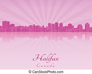 Halifax skyline in purple radiant orchid in editable vector...