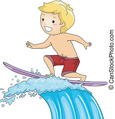 Surfer Boy - Illustration of a Little Boy on a Surfboard...