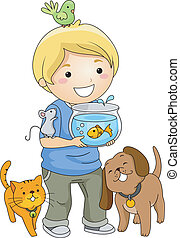 Pet Lover Boy - Illustration of a Little Boy Surrounded by...