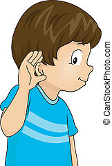 Listening Boy - Illustration of a Little Boy with His Hand...
